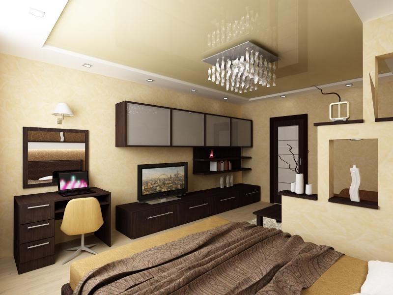 дизайн спальни гостиной 18 кв м зона гостиной в интерьере спальни